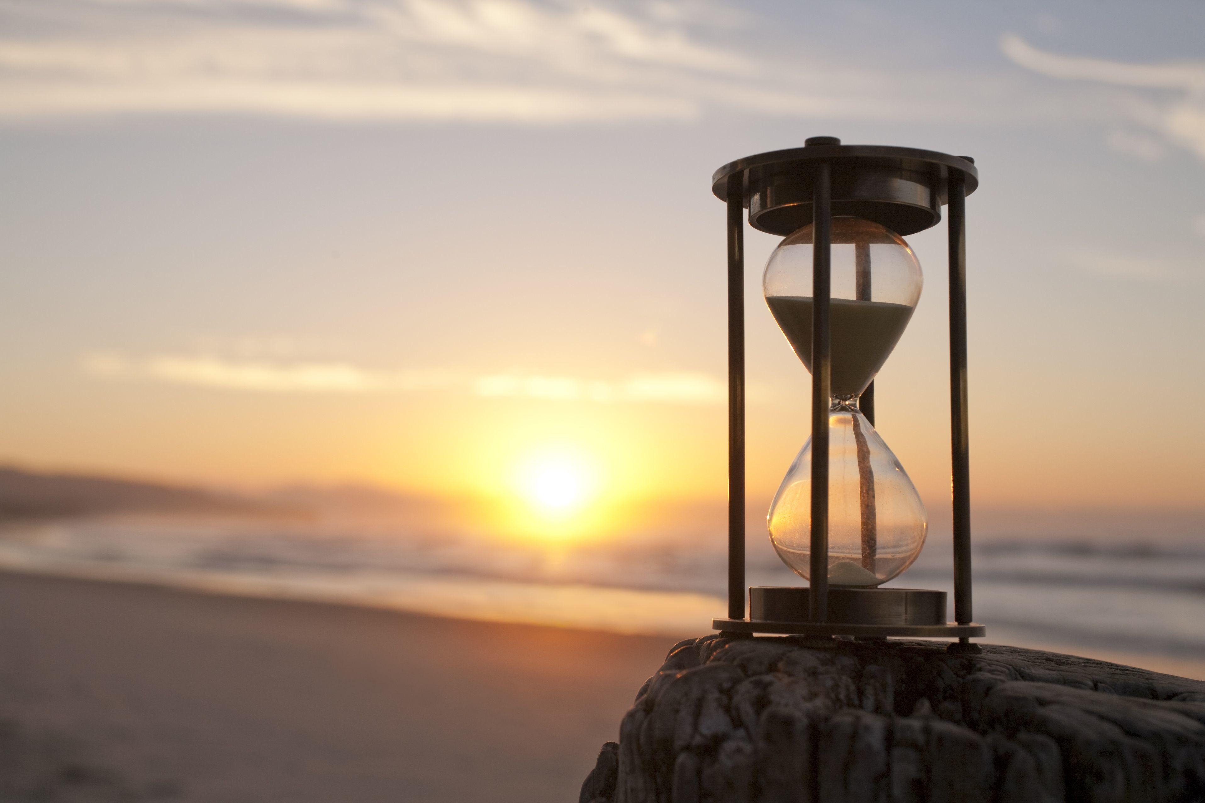 hour glass on beach